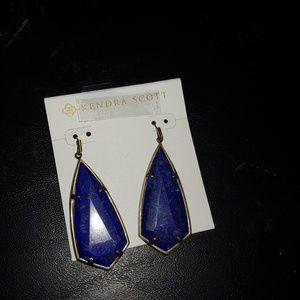 Kendra Scott Carey Antique Brass & lapis earrings